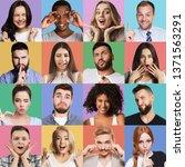 set of millennials emotional... | Shutterstock . vector #1371563291