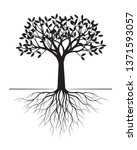 black tree with roots on white... | Shutterstock .eps vector #1371593057