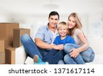beautiful smiling family... | Shutterstock . vector #1371617114