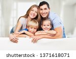 beautiful smiling family on... | Shutterstock . vector #1371618071