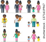 african american family. dad ... | Shutterstock .eps vector #1371619967
