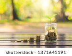 golden coins stack with... | Shutterstock . vector #1371645191