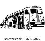 passengers boarding bus   retro ...