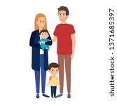young parents couple with son... | Shutterstock .eps vector #1371685397