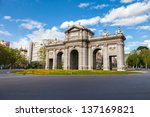 puerta de alcala is a monument... | Shutterstock . vector #137169821