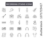 recording studio line icons ... | Shutterstock .eps vector #1371725417