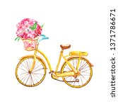 Watercolor Yellow Bicycle ...