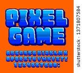 pixel game alphabet font....   Shutterstock .eps vector #1371807584