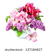 Pink And Violet Flowers In Vase....