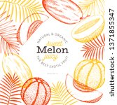 melons and watermelons with... | Shutterstock .eps vector #1371855347