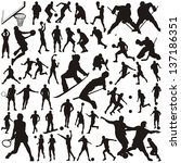 set of vector silhouettes of... | Shutterstock .eps vector #137186351