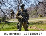 armed soldier ready for battle. ...   Shutterstock . vector #1371880637