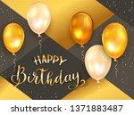 gold lettering happy birthday... | Shutterstock .eps vector #1371883487