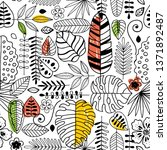 exotic leaves seamless pattern. ... | Shutterstock .eps vector #1371892487