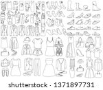 set of sketches of clothes for... | Shutterstock .eps vector #1371897731