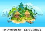 cartoon tropical island with a... | Shutterstock .eps vector #1371928871
