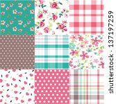 set of nine vintage flower with check ,cute heart vector pattern background