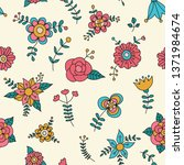 cute floral vector pattern. can ... | Shutterstock .eps vector #1371984674
