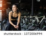 woman exercise workout in gym... | Shutterstock . vector #1372006994