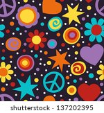 colorful hippie seamless... | Shutterstock .eps vector #137202395