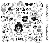 hand drawn woman icons sketch...   Shutterstock .eps vector #1372043201