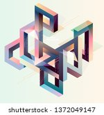 isometric abstract composition | Shutterstock .eps vector #1372049147