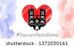 notre dame de paris after fire. ... | Shutterstock .eps vector #1372050161