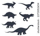 dinosaur silhouettes set.... | Shutterstock .eps vector #1372052654