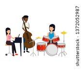 women playing musical...   Shutterstock .eps vector #1372052987