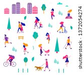 different activities of people... | Shutterstock .eps vector #1372054274