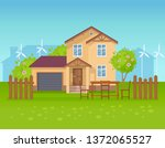 ecological country house ...   Shutterstock .eps vector #1372065527