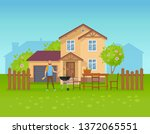 outdoor summer picnic near... | Shutterstock .eps vector #1372065551