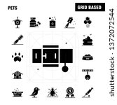 pets solid glyph icons set for...