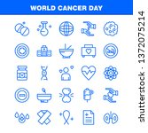 world cancer day line icons set ...