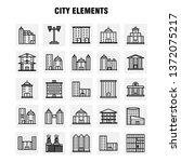 city elements line icons set... | Shutterstock .eps vector #1372075217