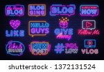 blogging collection neon signs... | Shutterstock .eps vector #1372131524
