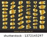set of gold paint  ink brush... | Shutterstock .eps vector #1372145297