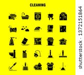cleaning solid glyph icons set...