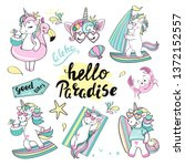 summer collection of unicorns... | Shutterstock .eps vector #1372152557