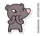 sticker of a cute cartoon bear | Shutterstock . vector #1372180781