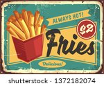 french fries in red box vintage ... | Shutterstock .eps vector #1372182074