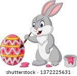 cartoon rabbit painting an... | Shutterstock .eps vector #1372225631