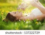beautiful girl is relaxing... | Shutterstock . vector #137222729