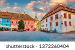 picturesque evening view of... | Shutterstock . vector #1372260404