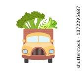 cute truck delivering fresh... | Shutterstock .eps vector #1372295687