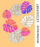 vector tropical pattern with... | Shutterstock .eps vector #1372319387