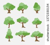 set of abstract stylized trees. ... | Shutterstock .eps vector #1372330154
