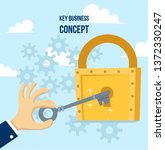 key in hand holds man. open the ... | Shutterstock .eps vector #1372330247