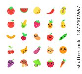 fruits and vegetables cute... | Shutterstock .eps vector #1372402667