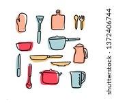 cooking set doodle  vector | Shutterstock .eps vector #1372406744
